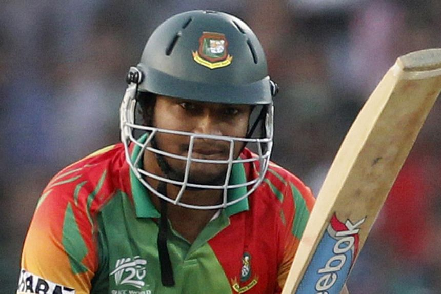 Bangladesh's Shakib Al Hasan plays a ball against Pakistan during their ICC Twenty20 World Cup match at the Sher-e-Bangla National Cricket Stadium in Dhaka in this file picture taken on Mar 30, 2014. -- PHOTO: REUTERS