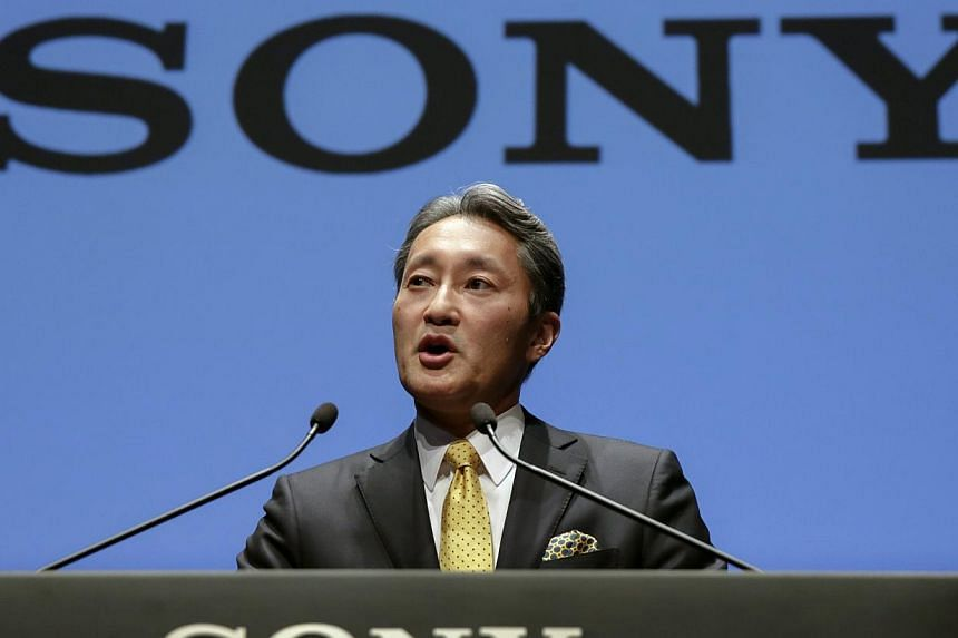 Mr Kazuo Hirai, president and chief executive officer of Sony, announces its mid-term strategy for fiscal year of 2015-2017 at its the Corporate Strategy Meeting held at headquarters in Tokyo, Japan, on Feb 18, 2015. -- PHOTO: EPA