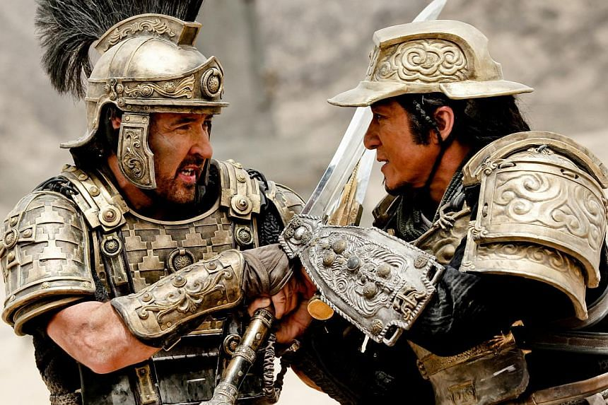Adrien Brody (above) plays ruthless Roman general Tiberius (left) in Dragon Blade, which also stars John Cusack and Jackie Chan (both right).