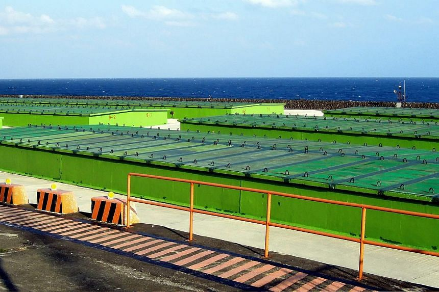 A photograph made available on Feb 17, 2015, shows the general view over Taiwan Power Company's nuclear waste storage facility on the Lanyu Island off Taiwan's southeast coast on Jan 9, 2015.-- PHOTO: EPA