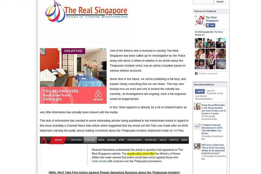 The Real Singapore website is believed to be run by a Singaporean and two foreigners based in Australia. All three are students at the University of Queensland in Brisbane. -- PHOTO: SCREENGRAB FROM THEREALSINGAPORE.COM