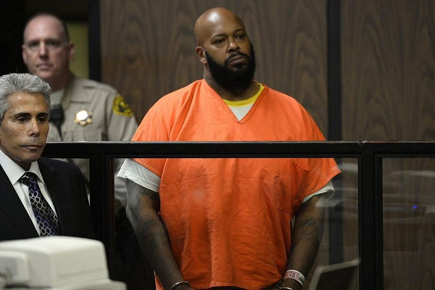Rap mogul Suge Knight in court during his arraignment on murder charges in California on Feb 3, 2015.Knight was taken to hospital on Thursday shortly before he was due to appear in court, in the second such incident in weeks, his lawyer said. -