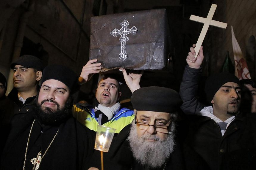 Coptic Christian priests in Jerusalem at a symbolic funeral this week for the Egyptian Christians beheaded by ISIS. Like many ISIS atrocities, the mass beheadings were designed to be indiscriminate enough to radicalise Muslims and make its caliphate
