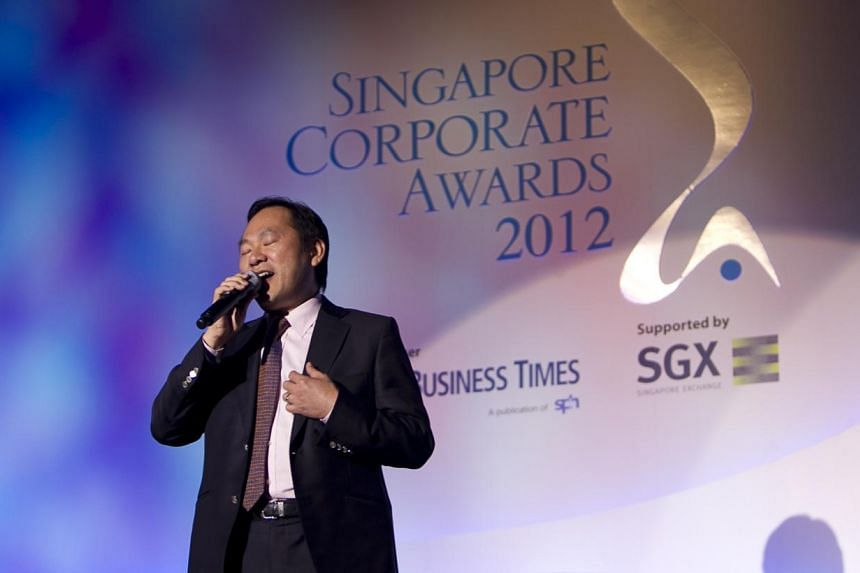 Gunawan Lim, executive chairman and chief executive officer of Bumitama Agri Ltd, entertained the crowd with his rendition of the popular 'My Way' at the Singapore Corporate Awards held at The Ritz Carlton Hotel, Millenia Singapore, on July 17, 2