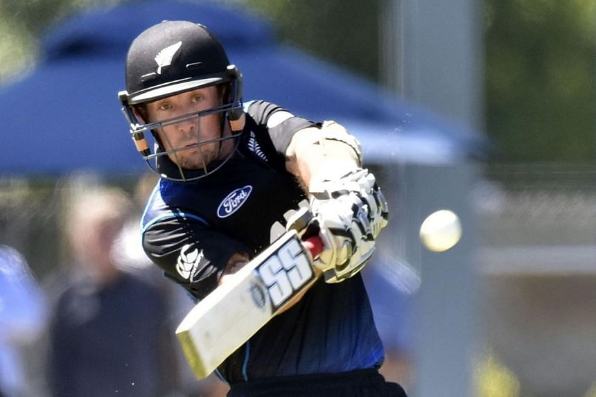 New Zealand's Luke Ronchi plays a shot during the fifth one-day International cricket match between New Zealand and Sri Lanka in Dunedin at University Oval on Jan 23, 2015. -- PHOTO: AFP