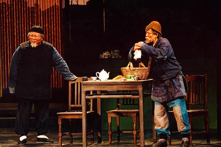 Liang Guanhua (left) plays the proprietor of the Teahouse with Pu Cunxin (right) as Fourth Master Chang. -- PHOTO: COURTESY OF THE ESPLANADE