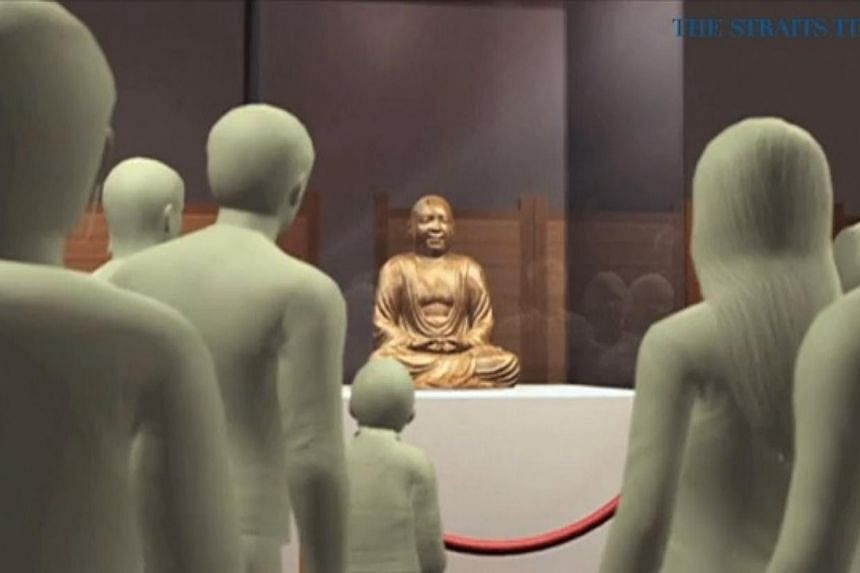 The Buddha statue, which was on display at the Drents Museum in the Dutch city of Assen, was analysed at the Meander Medical Centre in Amersfoort. -- PHOTO: VIDEO SCREENGRAB
