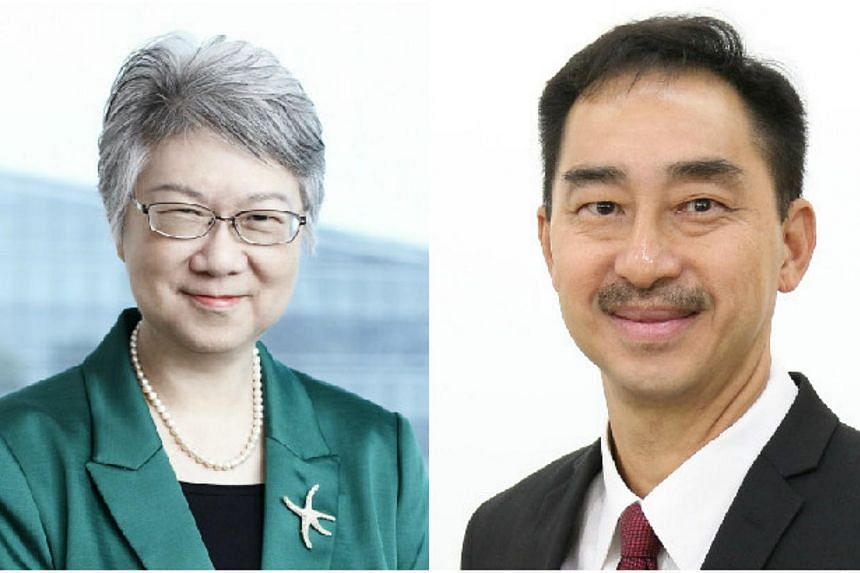 Ms Ho Peng (left), Director-General of Education, will be retiring from the Education Service on March 31. Mr Wong Siew Hoong, 55, will succeed her on April 1. -- PHOTO: MINISTRY OF EDUCATION