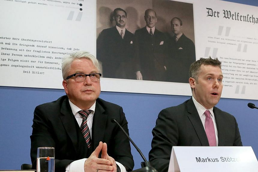 Boston lawyer Nicholas M. O'Donnell (right) and Marburg lawyer Markus H. Stoetzel speak during a press conference on the Guelph Treasure case in Berlin, Germany, on Feb 24, 2015. US and British heirs of Nazi-era Jewish art dealers who owned the