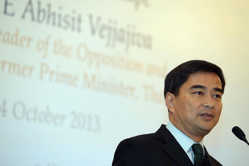 """Former prime Minister Abhisit Vejjajiva (above) and his deputy Suthep Thaugsuban may face """"abuse of power"""" charges for overseeing the crackdown which also left hundreds injured. -- PHOTO: ST FILE"""