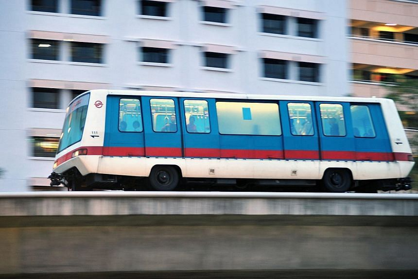 Service along the Bukit Panjang LRT line was disrupted for about an hour between Choa Chu Kang and Keat Hong stations. Free public and shuttle buses were made available for commuters. -- PHOTO: ST FILE
