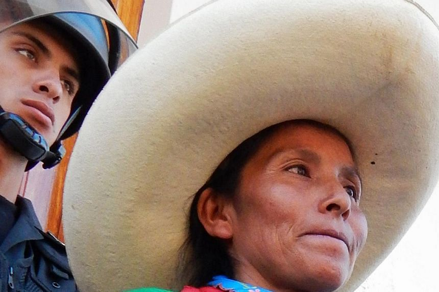 Peruvian Andean peasant Maxima Acuna, 48, defends her right of ownership of 25 hectares of land where she lives in a small house with her family of seven, located near the town of Sorochuco, in the northern Peruvian Andes. The land is also claimed by