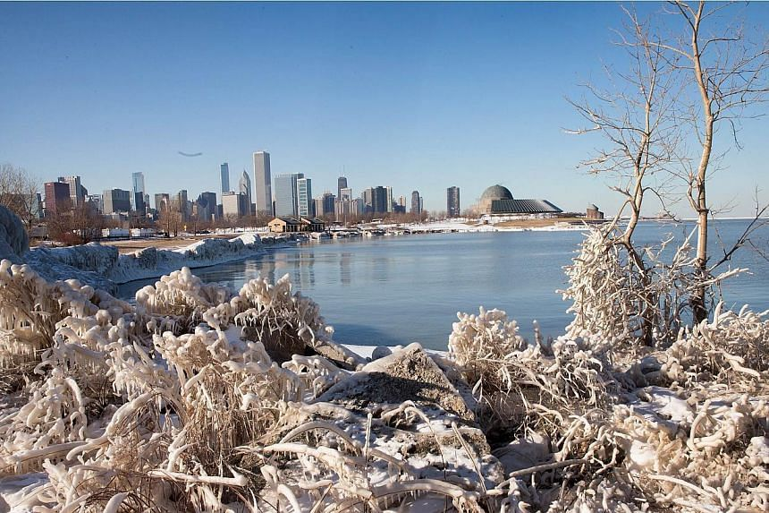 Ice building up along Lake Michigan on Feb 23, 2015, in Chicago, Illinois. -- PHOTO: AFP