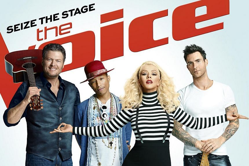 Judges on this season of The Voice are (from far left) Blake Shelton, Pharrell Williams, Christina Aguilera and Adam Levine. -- PHOTO: SPE NETWORKS – ASIA