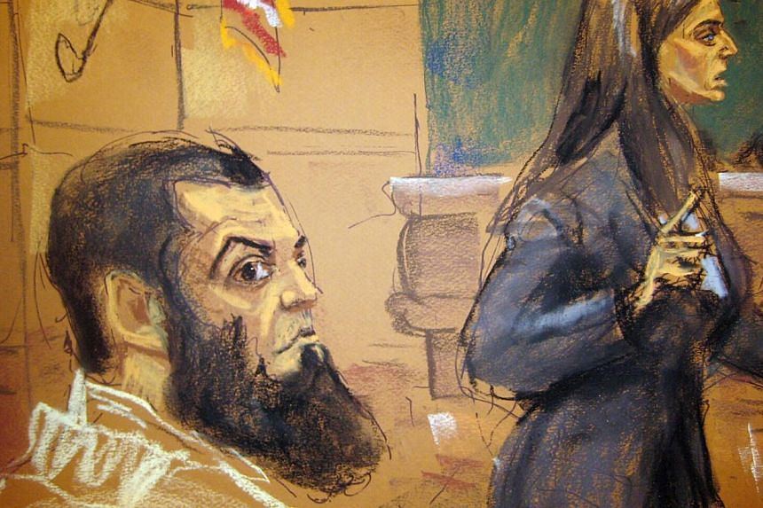 Assistant US Attorney Celia Cohen (right) makes opening statements in the trial of Pakistani citizen Abid Naseer (left), 28, as seen in a courtroom sketch in Brooklyn, New York Feb 17, 2015.Spies working for Britain's MI5 intelligence agency do