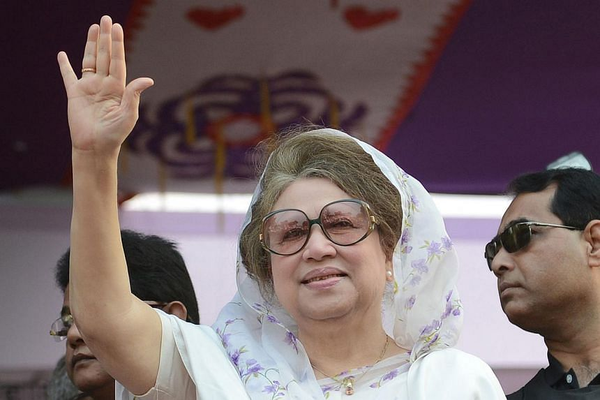 Zia is charged with embezzling US$650,000 (S$885,000) in two corruption cases dating back to her time as premier in 2001-2006 that could see her jailed for life if found guilty. -- PHOTO: AFP