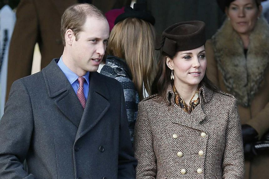 Britain's Prince William (left) and his wife, Catherine, Duchess of Cambridge leave a Christmas Day morning service at the church on the Sandringham Estate in Norfolk, eastern England on Dec 25, 2014. Prince William will visit China from March 1 to 4