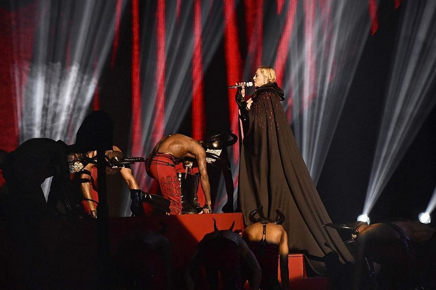 Madonna performs at the Brit music awards at the O2 Arena in Greenwich, London, on Feb 25, 2015. -- PHOTO: REUTERS