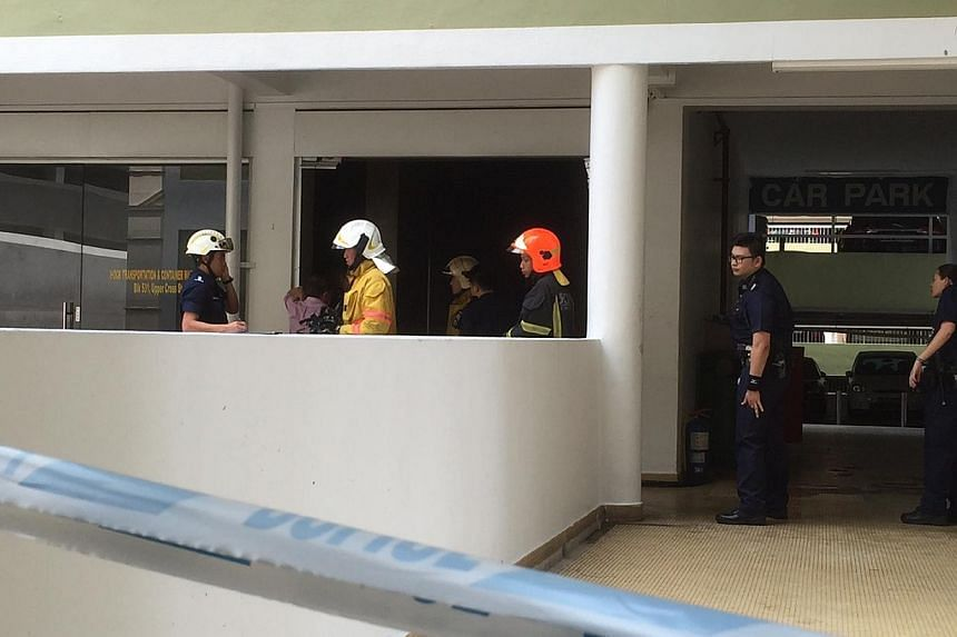 A fire broke out at an office unit at Hong Lim Complex on Thursday afternoon.-- ST PHOTO: KUA CHEE SIONG