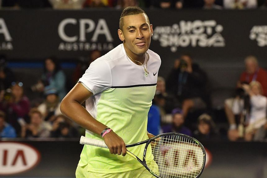 Australia's top-ranked player Nick Kyrgios on Thursday, Feb 26, 2015, said he was withdrawing from next week's Davis Cup World Group showdown against the Czech Republic with a back problem. -- PHOTO: AFP