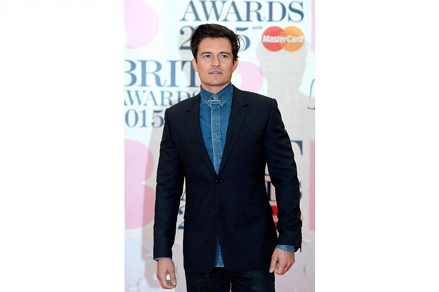 British actor Orlando Bloom arrives for the BRIT Awards ceremony at the O2 Arena in Greenwich, London, Britain, on Feb 25, 2015. -- PHOTO: EPA