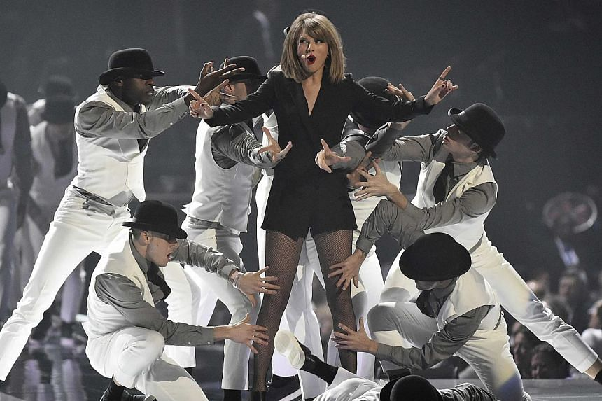 Taylor Swift performs at the BRIT music awards at the O2 Arena in Greenwich, London, on Feb 25, 2015. -- PHOTO: REUTERS