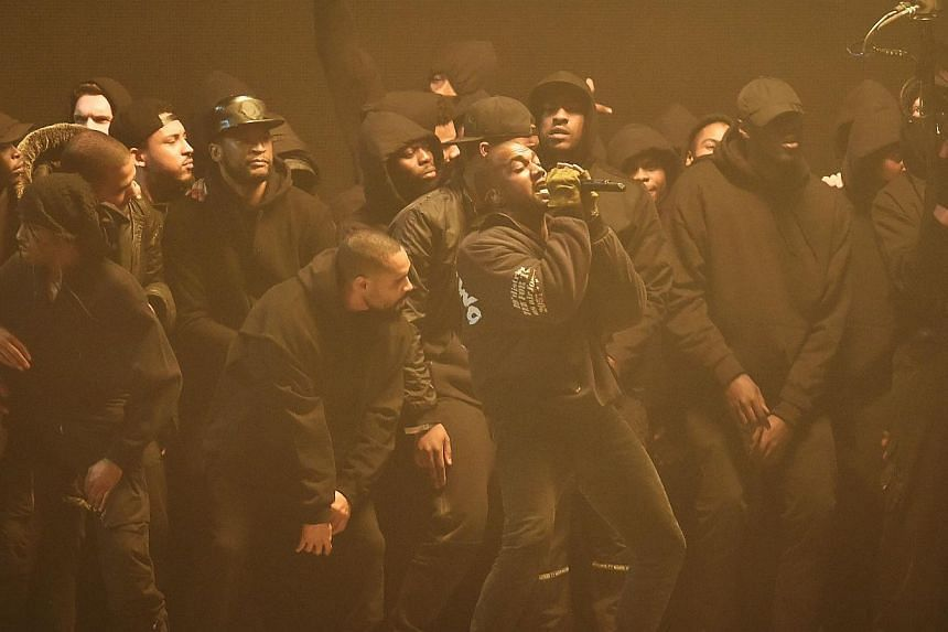 Kanye West performs at the BRIT music awards at the O2 Arena in Greenwich, London, on Feb 25, 2015. -- PHOTO: REUTERS