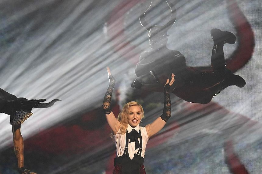 Madonna performs at the BRIT music awards at the O2 Arena in Greenwich, London, February 25, 2015. -- PHOTO: REUTERS