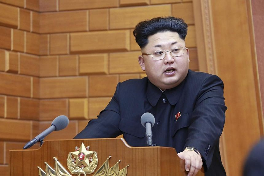 North Korean leader Kim Jong Un speaking during a meeting of the Central Military Commission of the Workers' Party of Korea in this undated photo released by North Korea's Korean Central News Agency in Pyongyang on Feb 23, 2015. -- PHOTO: REUTERS