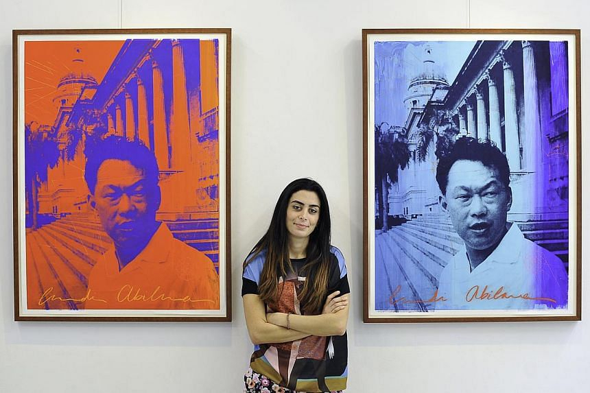 Lebanese artist Laudi Abilama (above) will display her screen paintings of Mr Lee Kuan Yew, while Singapore illustrator Patrick Yee is exhibiting illustrations from his two picture books about Mr Lee's life. -- PHOTO: DIOS VINCOY JR FOR THE STRAITS