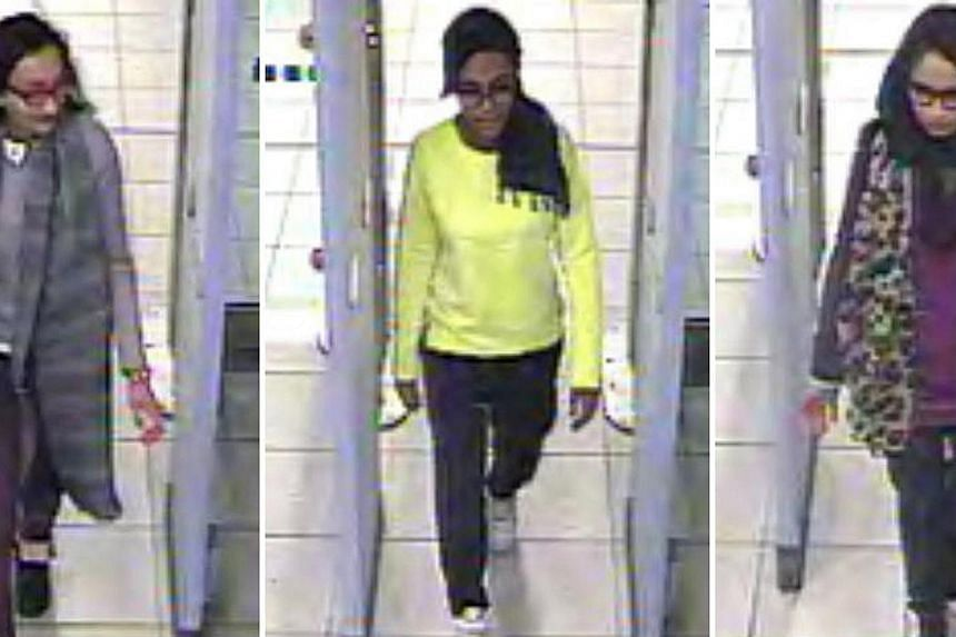 Video camera footage shows British teenagers (from left) Kadiza Sultana, Amira Abase and Shamima Begum passing through security barriers at Gatwick Airport, south of London, on Feb 17 on their way to Syria. The British authorities are investigating p