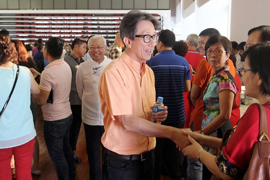 Guest of honour Lim Swee Say attends Hokkien Huay Kuan's first CNY get-together at their new premise in Sennett Road. -- PHOTO: ZAOBAO