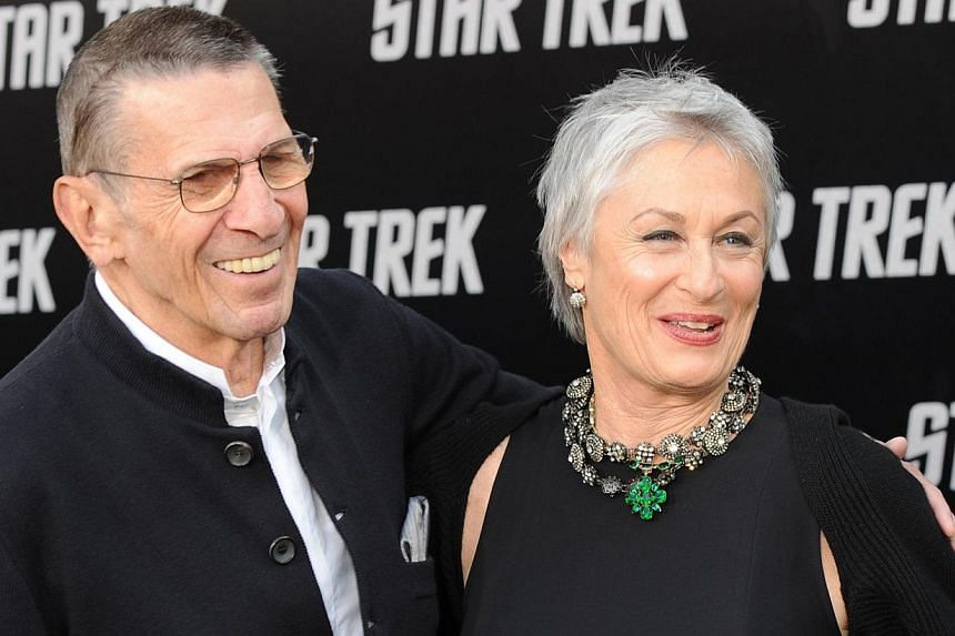 Actor Leonard Nimoy and his wife, actress Susan Bay, arrive for the premiere of the movie Star Trek in Los Angeles in this April 30, 2009, file photo. -- PHOTO: AFP