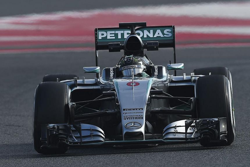 Mercedes' Nico Rosberg of Germany drives during the second day of the third and last segment of Formula One pre-season tests in Barcelona on Feb 27, 2015. -- PHOTO: AFP