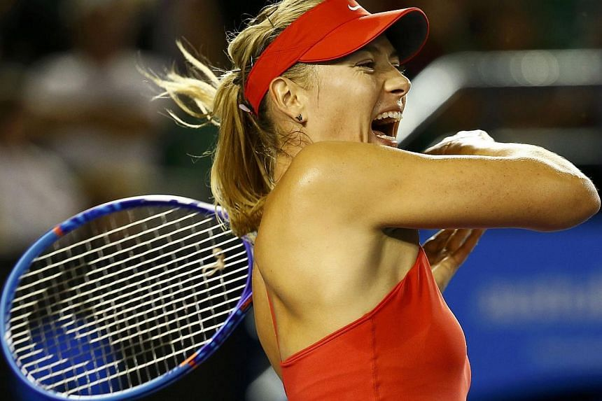 Russia's Maria Sharapova in action at the Australian Open in Melbourne Jan 19, 2015. Sharapova pulled out of the Mexican Open in Acapulco on Friday due to a stomach virus, keeping her out of the semi-finals. -- PHOTO:REUTERS