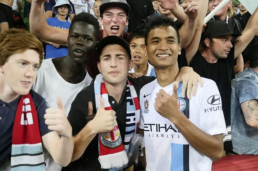 Safuwan celebrating his first goal for Melbourne City with the club's fans. -- PHOTO: MELBOURNE CITY FC