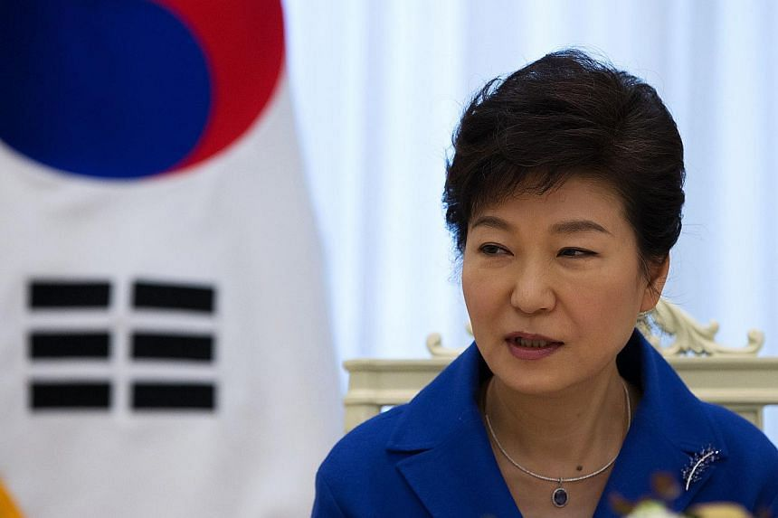 """South Korean President Park Geun Hye on Sunday repeated a call for Japanese leaders to apologise to former wartime sex slaves, warning that """"time is running out"""" for Tokyo. -- PHOTO: BLOOMBERG"""