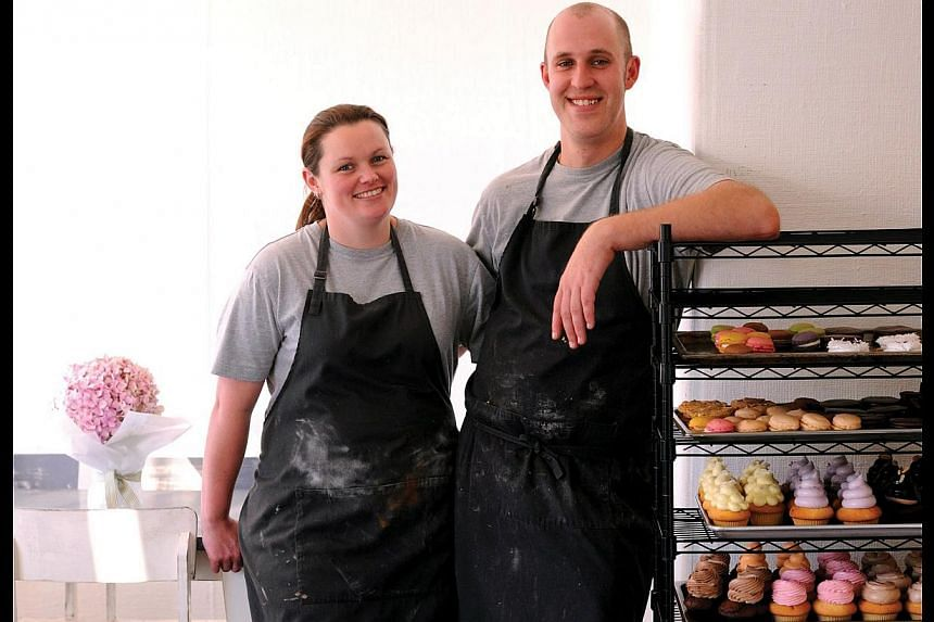 Alistair Wise and his wife Teena Kearney-Wise (both above) at the bakery, which serves an unusual pie – rabbit in Sauce Nantua. --PHOTO: TOURISM TASMANIA & CHRIS CRERAR