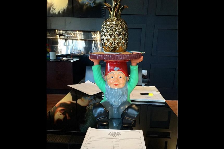 Enter Frank, the newest restaurant in Hobart, and you are welcomed by a little gnome holding a pineapple on his head.--PHOTO: TAN HSUEH YUN