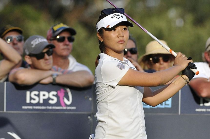 Lydia Ko of New Zealand hits a shot during the final round of the women's Australian Open golf tournament at the Royal Melbourne Golf Club in Melbourne on Feb 22, 2015. -- PHOTO: AFP