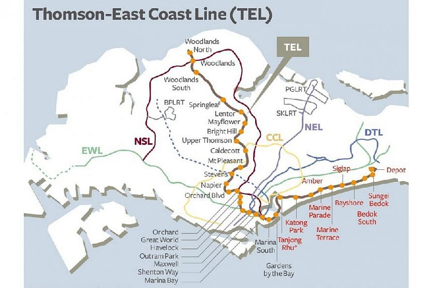 A map of the planned Thomson Line published in August. The MRT line will allow travellers to take the proposed Rapid Transit System link between Singapore and Johor Baru. -- GRAPHIC: BUSINESS TIMES