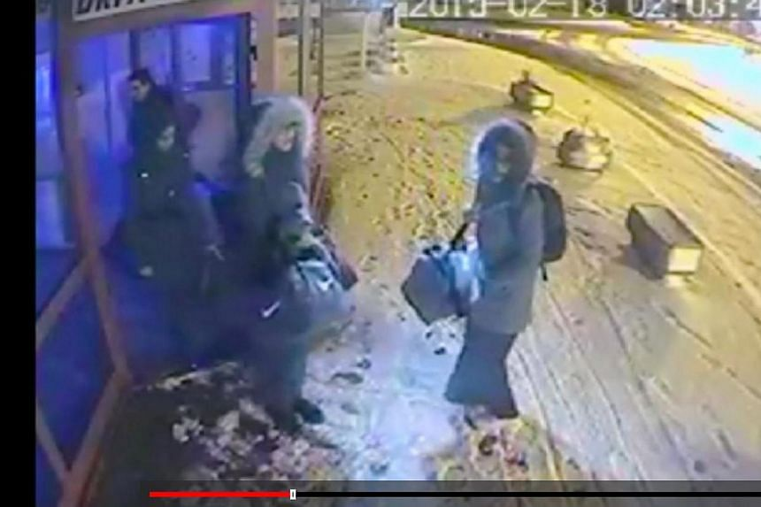 Security footage showing what appears to be the three British schoolgirls, believed to be on their way to join Islamic State in Iraq and Syria (ISIS), waiting for hours at a bus station in Turkey before travelling to a city near the Syrian border, me
