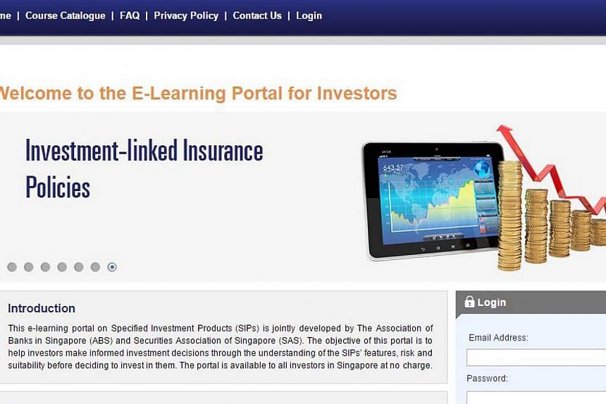 The online portal on unlisted specified investment products (SIPs) launched by the Association of Banks in Singapore (ABS) and Securities Association of Singapore (SAS). -- PHOTO: SCREENGRAB FROM SIPS.ABS.ORG.SG