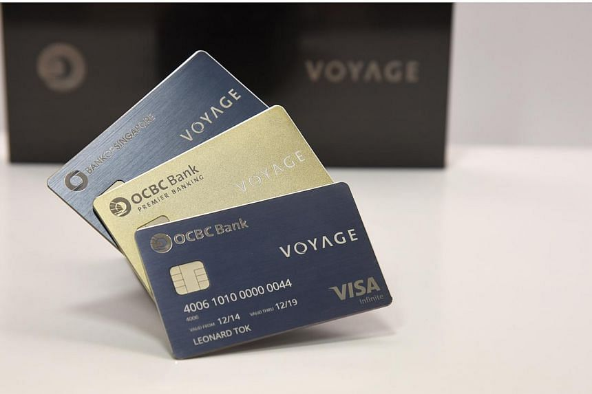 OCBC's Voyage series of credit cards. The bank has set itself the ambitious target of having the largest credit card business within the next five years. -- PHOTO: OCBC