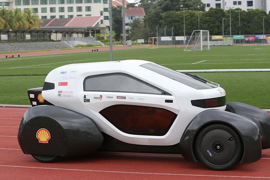 The NTU Venture 8, which is made up ofmore than 150 3D-printed partspassed the technical inspection but did not place in the competition. -- ST PHOTO:ONG WEE JIN