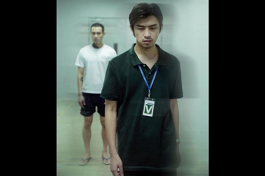 Chen Bo-lin (foreground) plays a young man visiting his friend, played by Tony Yang, in prison in one of the segments of Distance. -- PHOTO: GIRAFFE PICTURES