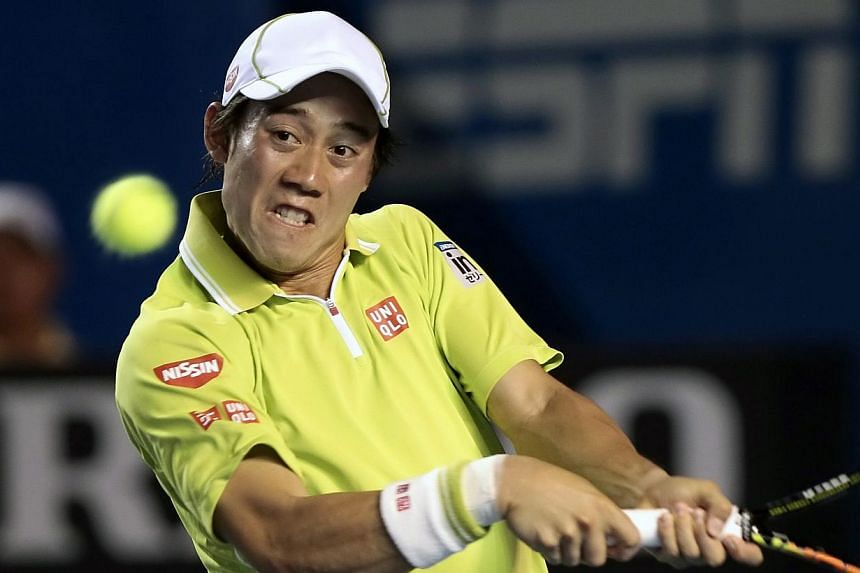 Kei Nishikori of Japan in action against Yen-Hsun Lu of Taiwan during their match at the Acapulco Tennis Open 2015 in Acapulco, Mexico on Feb 25, 2015.Japan superstar Kei Nishikori rose to fourth in Monday's new world rankings, equalling Kimiko