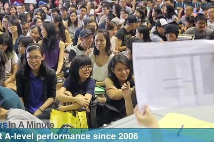 In today's News In A Minute, we look at how 91.4 per cent of over 14,000 students scored at least three H2 passes, with a pass in General Paper or Knowledge and Inquiry, in their A-level exams. -- PHOTO: SCREENGRAB FROM RAZORTV
