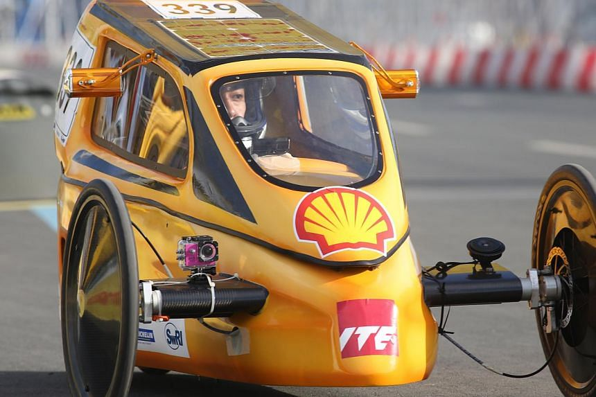 The Institute of Technical Education's EcoTraveller, which took part in the Battery Electric Prototype category at this year's Shell Eco-Marathon Asia. It finished in third place afterclocking 324 km - almost equivalent to driving up and down t
