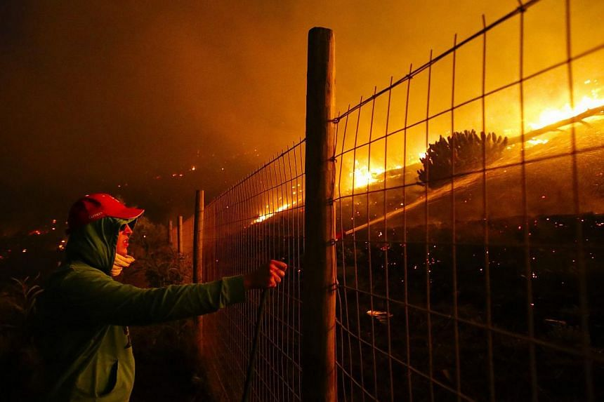 A resident of Noordhoek uses a garden hose to try to extinguish a blaze aproaching his home in Cape Town, South Africa, on March 2, 2015. -- PHOTO: EPA